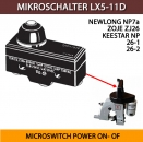 MIKROSCHALTER LX5-11D für Sacknähmaschinen GK26, NP7A, Siruba, Sk26 MICROSWITCH POWER ON- OF ON / OFF PUSH SWITCH